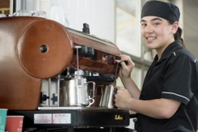 Student making coffee